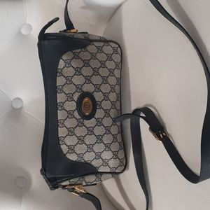 Vtg Gucci blue canvas and leather GG crossbody bag